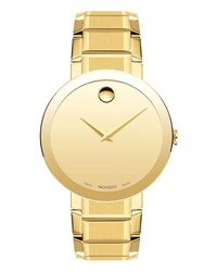 Movado Sapphire Stainless Steel Bracelet Watch Yellow Gold