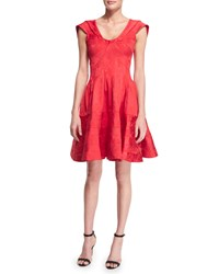 Zac Posen Sleeveless Scoop Neck Party Dress Ruby Red Women's