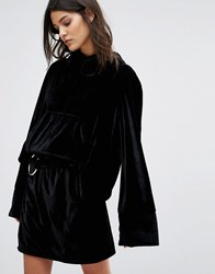 House Of Sunny Velvet Hoodie With Extra Long Sleeve Co Ord Black