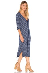Splendid Alline Stripe Loose Knit Long Sleeve Button Up Dress Blue