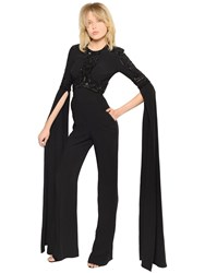 Elie Saab Embellished Cady Long Sleeve Jumpsuit
