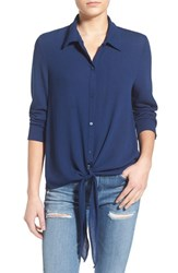 Women's Painted Threads Tie Front Shirt Chambray Blue