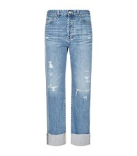 Ag Jeans The Sloan Distressed Straight Leg Female Blue