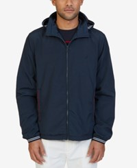 Nautica Men's Lightweight Hooded Bomber Jacket True Navy