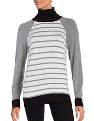 Calvin Klein Contrast Trim Striped Turtleneck Sweater Heather Granite