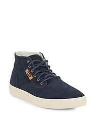 Diesel Leather Ankle High Sneakers Blue