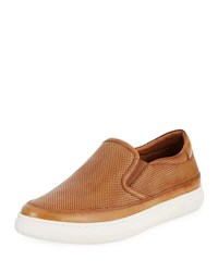 Donald J Pliner Corbyn Men's Perforated Leather Slip On Sneaker Brown