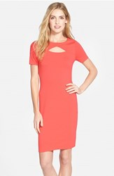 Petite Women's Vince Camuto Keyhole Detail Jersey Stretch Sheath Dress Fiery Coral