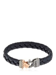 Marco Dal Maso Braided Leather Bracelet Silver