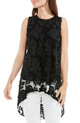 Vince Camuto Women's Floral Mesh High Low Blouse