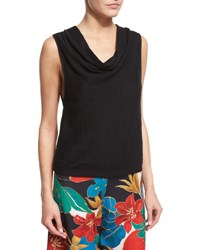 Alice Olivia Rod Pointelle Cowl Neck Tank Black