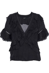 Love Sam Lattice Trimmed Ruffled Voile Top Black