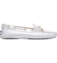 Tod's Tods Gommino Heaven Lace Up Metallic Leather Loafers White Oth