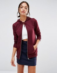 New Look Zip Through Hoodie Dark Red