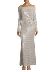 Cachet Side Ruched Off Shoulder Sequin Gown Silver