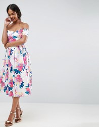 Asos Floral Scallop Off The Shoulder Scuba Prom Dress Multi