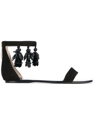 Anna Baiguera Sling Back Flat Sandals Women Leather Plastic 37 Black
