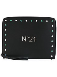 N 21 No21 Studded Zip Clutch Women Leather One Size Black