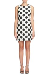 Cece Petite Women's 'Arlington' Polka Dot Jacquard A Line Dress Rich Black