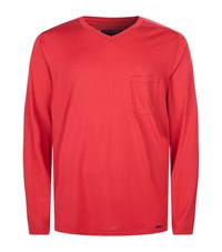 Hanro Cotton Lounge Top Red