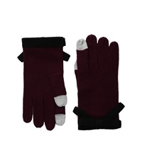 Kate Spade Contrast Bow Gloves Midnight Wine Black Extreme Cold Weather Gloves Burgundy