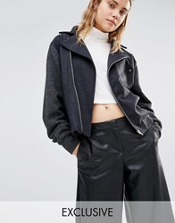 House Of Sunny Oversized Boxy Wool Biker Jacket Slate Grey