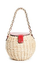 Frances Valentine Honeypot Mini Bucket Crossbody Bag Natural Red