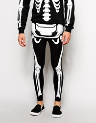American Apparel Skeleton Glow In The Dark Halloween Leggings Black