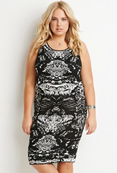 Forever 21 Abstract Pattern Sweater Dress Black White