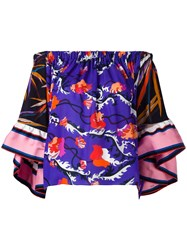 Emilio Pucci Off Shoulder Floral Blouse