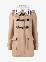 Miu Miu Virgin Wool Duffle Coat Camel White Purple Brown
