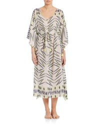 Lalesso Dorado Printed Silk Blend Kaftan Black White
