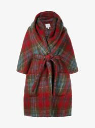 Delpozo Check Mohair Wool Blend Cape Coat Red Multi Coloured Denim