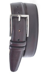 Men's Big And Tall Martin Dingman 'Samuel' Leather Belt Burgundy