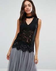 New Look Lace Shell Top With Choker Black