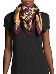 Saks Fifth Avenue Status Square Silk Scarf Navy
