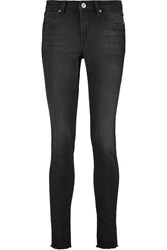 Zoe Karssen Worn And Torn Mid Rise Skinny Jeans Gray