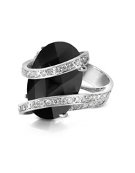 Del Gatto Onyx Diamond Channel 18K Gold Ring Black