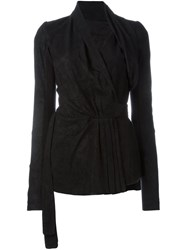 Rick Owens Wrap Fitted Jacket Black
