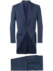 Canali Fishtail Tuxedo Men Cupro Wool 52 Blue