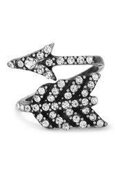 Steve Madden Pave Rhinestone Wrapped Arrow Ring Gray