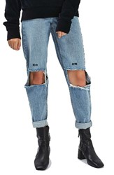 Topshop Women's Embroidered Slogan Ripped Jeans