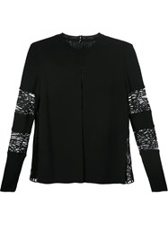 Elie Saab Lace Panels Long Sleeve Blouse Black