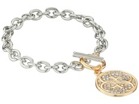 Guess Link Chain Toggle Bracelet With Stone Disc Drop Gold Silver Crystal Bracelet