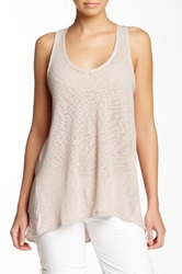 14Th And Union Mixed Media Hi Lo Tank Beige