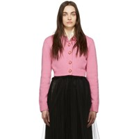 Marc Jacobs Pink Cropped Knit Cardigan
