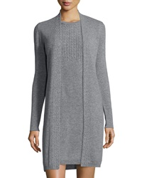 Magaschoni Long Sleeve Cable Knit Trim Cashmere Duster