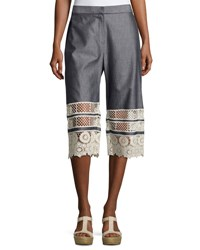 Elie Tahari Valerie Lace Trimmed Chambray Cropped Pants Multi