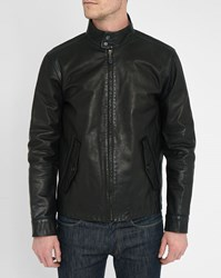 Polo Ralph Lauren Black Buttoned Collar Leather Biker Jacket