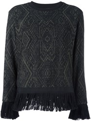 Christian Pellizzari Fringed Hem Jumper Black